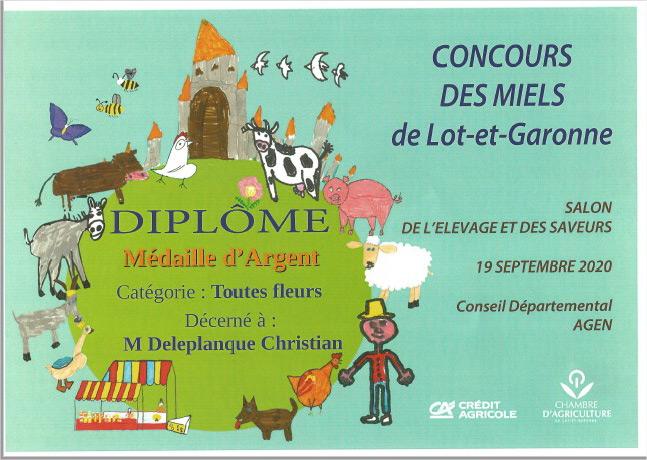 Médaille argent concours des miels Lot et Garonne